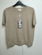 NWT Eric Bompard chantilly beige melange cashmere top short sleeve sweater XL L