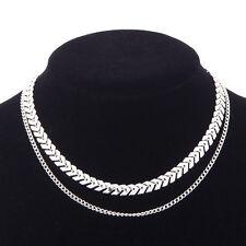 Mode Pailletten Halskette einfache Fisch Knochen Doppelschichten Choker Böhmen