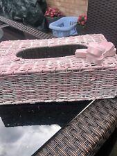 Tissue Box Holder Wicker Pink  - B4
