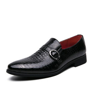 Men Formal British Low Top Faux Leather Shoes Slip On Party Pointed Toe Oxfords