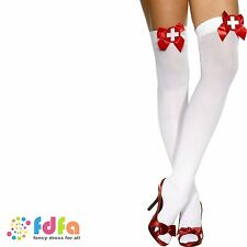 WHITE OPAQUE NURSE HOLD UPS STOCKINGS + BOWS CROSS ladies womens hosiery
