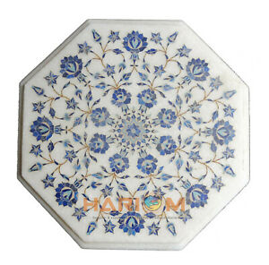 12'' Marble Coffee Table Top Lapis Floral Marquetry Inlay Art Kitchen Decor W263
