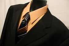 Men's Bolzano 3 Button Suit 50L Black 100% Polyester 44x28 Pleated Front