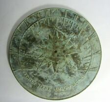 "Virginia Metalcrafters Solid Brass Sundial 10"" Diameter No Pointer Vg Condition!"