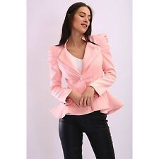 Womens Ladies Kate Kim Puff Shoulder Blazer Frill Button Jacket Tailored Coat