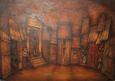 Large gouache and pastel painting theatre stage design