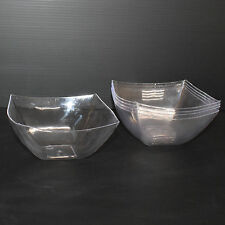 12x 16oz /454ml Clear Hard Plastic Salad Bowl Semi-Disposable Diamond Look-Party