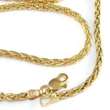 """14K Yellow Gold Spiga Woven Chain Link Necklace 24"""" 2mm QZ"""