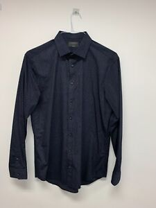 """M&S LUXURY LIMITED LS BLUE DETAILED SHIRT SIZE 16"""" TAILORED FIT BNWOT"""