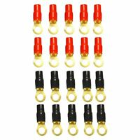 """20 Pcs Red&Black Boots 3/8"""" 4 Gauge Gold Ring Terminal 4 AWG Wire Crimp Cable"""