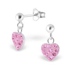 925 Sterling Silver Crystal Pink Hanging Heart Stud Earrings Kids Girls Women