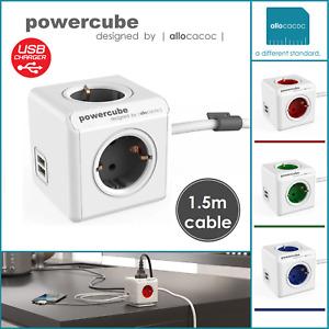 allocacoc PowerCube Extended 2 x USB Mehrfachsteckdose 1,5m Verlängerungskabel