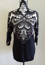 WHITE HOUSE BLACK MARKET Printed Dolman Sleeve Pullover Sweater M (8/10) $88 NWT