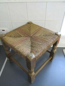 Vintage Original Woven Wicker Stool Seat Rattan Wood cottage 34cmLOFT FIND +