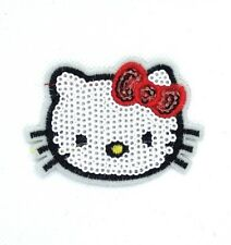 Hello Kitty Sequins Embroidered Fabric Applique Iron On Patch for Clothes 216