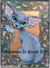 ACEO DEVON REX CAT & BUTTERFLY PRINT FROM ORIGINAL PAINTING BY SUZANNE LE GOOD