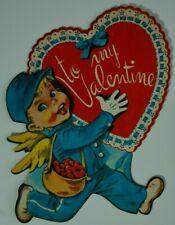 Vintage Dennison Valentine's Day Cutout Cupid Postman with To My Valentine Heart