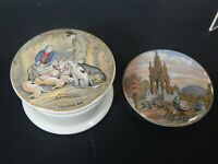 Pair Antique PRATTWARE jar pot lid Marmalade Albert Memorial & Hunting 19cent