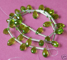 16 inch strand of Peridot color glass Quartz faceted thin briolette 6mmx12mm