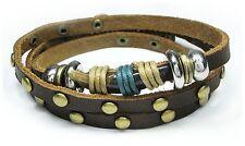 Neu LEDERARMBAND Armband ECHT LEDER Tibet / Surfer WICKEL Armband UNISEX braun