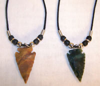 10 SOLID STONE ARROWHEAD NECKLACE W/BEADS arrow head jewelry rock assorted colo