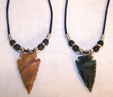 10 SOLID STONE ARROWHEAD NECKLACE W/BEADS arrow head jewelry rock assorted colo