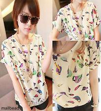 Womens Casual Birds Chiffon Batwing Shirt Loose Blouse Europe T-Shirt Tops Dress