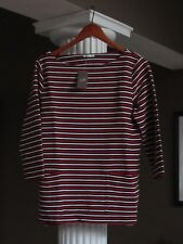 J JILL Red White & Black Textured Striped Boxy Top Shirt Size M NWT $69