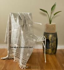 Hand Woven Light Weight  Blanket Throw Block Printed Luxury Couch Bedding Cover