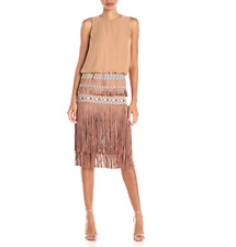 $325 TWELFTH STREET by CYNTHIA VINCENT CHAMPAGNE OCEAN TIERED FRINGE DRESS Sz 8