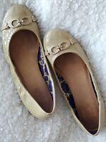 Coach Carlita Womens Signature Logo Taupe Beige Ballet Flats Shoes Size 8.5