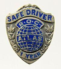 1930's R.O.C. ATLAS SAFE DRIVER 1 YEAR award collar pin STERLING enamel +
