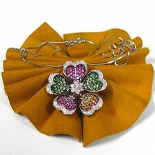 Style Garnet & Sapphire Chain/Pendant 18' .38cttw Diamonds 18k White Gold Flower
