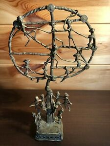 Handcrafted Vintage Lost Wax Casting Patinated Figures Tree of Life Sculpture