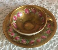 Royal Doulton Antique Miniature Tea Cup Teacup Gd Handpainted Roses WITH DAMAGE