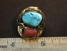 Vintage A. J. Platero Navajo Turquoise coral Sterling Silver Gold filled ring