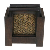 Vintage Wooden Coasters Set Pack of 6 Cup Mats with Cup Mat Rack Holders #B