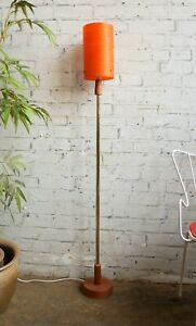 Vtg Retro 60s Mid Century Modern Modernist Teak Floor Lamp & Fibreglass Shade