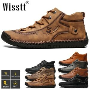 Men's Hand Stitching Ankle Formal Leather Casual Shoes Waterproof Driving Boots