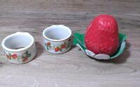 Vintage AVON TWO STRAWBERRY Porcelain Napkin Rings