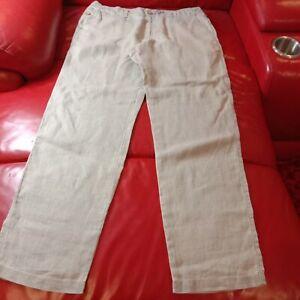 Tommy Bahama Womens Pants 100% Linen Capri Relax Fit Regular Ivory Size 14