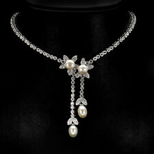 Collier Perle & CZ 925 Silber 585 Weißgold