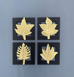 Wood Brass Wall Art Leaf Decor Home Living Bedroom 8 x 8 inches Set of 4