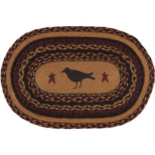 New Primitive Rustic Wine BLACK CROW Jute Braided Table Doily Candle Place Mat