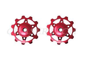 New MTB Road Bike Derailleur Jockey Wheel Ceramic Bearings Pulley 11T Red