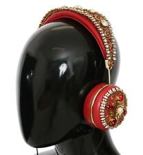 DOLCE & GABBANA Headphones Red Crystal Studs Leather Headset Audio AUX