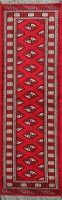 Geometric Hand-Knotted Bokhara Oriental Runner Rug Hallway Wool Carpet 2'x7' New