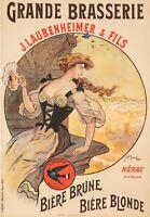 Affiche Originale - F. Bac - Brasserie Laubenheimer - Bière - Nérac - Lot - 1908
