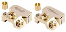 2pc GOLD Battery Terminal For Any Gauge Cable w/Ring Pos/Neg Adapter Marine USA