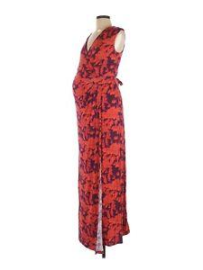 A Pea in the Pod Women's Maternity Orange Floral Maxi Purple Dress Size Medium